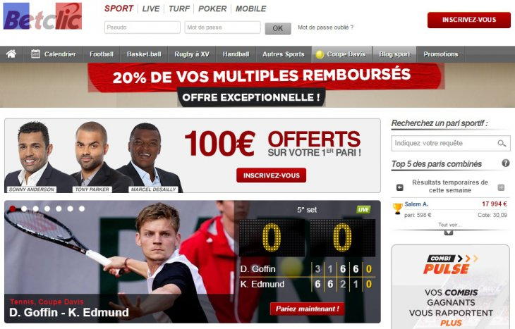 Betclic page d'accueil