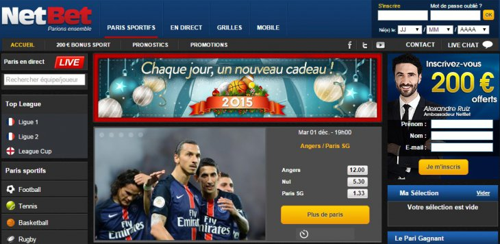NetBet page d'accueil